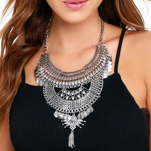 Lulu's Boho Silver Statement Necklace